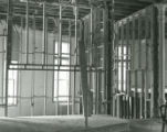 Second floor language lab office framing in Old Main during the restoration process following the...