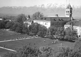 View of Old Main and the Quad from the Plant Industry Building, circa 1963