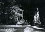 President's House and Old Main at night, in the 1960s.