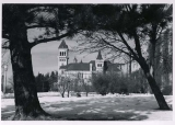Old Main, south wing, in winter, 1940s