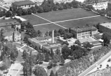 Aerial view of buildings around the Quad, 1920