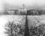 Winter view of Old Main and the Quad, 1953