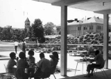 Student Union courtyard looking toward Old Main, circa 1966