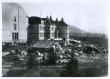 View showing construction of final part of Old Main, including the tower and west half of the...