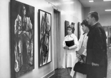 Students looking at Merrill Library Art Gallery exhibit, 1960s