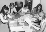 Student staff working on Student Life magazine, circa 1970