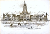 Old Main building, Utah State University, architectural drawing, 1892
