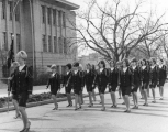 Sponsors Corps marching in front of the Chemistry building, 1969
