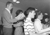 Choral singing group practice, 1960s