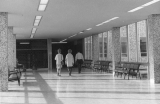Upper hallway connecting north and south wings, Engineering building, 1960s