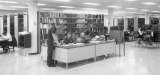 Merrill Library's Science & Engineering reference desk on north side, 1964