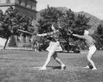 Intramural women's softball on the Quad, 1930s