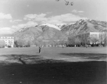 View across Quad toward Merrill Library and Family Life building, 1950