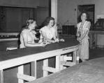 Women drinking sodas at Temporary Union building, 1947