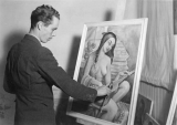 Man painting a portrait of a woman, 1960s