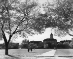 Autumn view of Old Main and the Quad looking west, 1950s