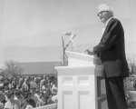 David O. McKay speaking at ground breaking ceremony, May 2, 1961