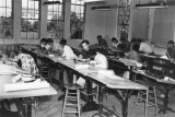 Students working in drafting class, 1950s