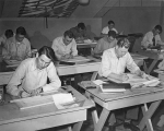 Drafting students working at their desks, 1948