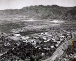 Aerial view, Summer 1970, of Utah State University campus, looking northeast