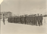 ROTC military formation with rifles on the Quad, circa 1918