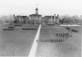 ROTC cadet military formation on the Quad, 1930s