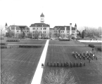 ROTC cadet military formation & band on the Quad, 1930s