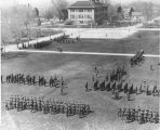 ROTC military formation on the Quad, 1930s