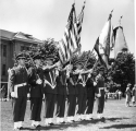 ROTC color guard during Military Inspection and Review Day, 1950s