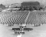 Entire ROTC lined up on the Quad, 1950