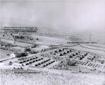 Northward aerial view of Quonset and other prefab housing, after 1946