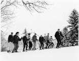 Ski class on Old Main Hill (College Hill), 1960s