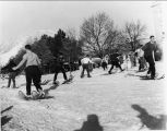 Snowshoe carnival race on the Quad, 1940s