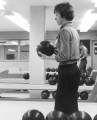 Student bowling in Student Union bowling alley, 1960s