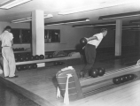 Students bowling in the Student Union bowling alley, 1950s
