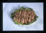 Japanese food, Utah, 1980: Plated shrimp on bed of lettuce