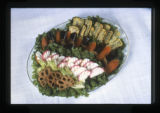 Japanese food, Utah, 1980: Variety platter with lotus root