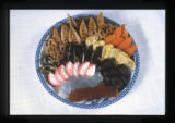 Japanese food, Utah, 1980: Variety platter with red and white kanten