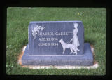 Sharrol Garrett gravemarker with seeing-eye dog, Logan, Utah, 1986.