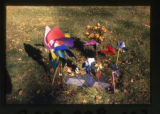 Palmer headstone pinwheels and flowers grave decorations, Salt Lake City, Utah, 2000