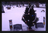 Mark Jacaway headstones and grave decorations, wide-angle view, Logan, Utah, 2000 (1 of 2)
