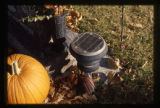 Dustin Michael Daniels gravemarker and fall decorations, pumpkin and solar light, Logan, Utah, 1999