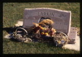 Larkin grave marker decorated for fall in Smithfield, Utah, 1999