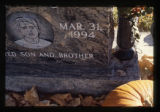 Dustin Michael Daniels gravemarker and fall decorations, engraved portrait, Logan, Utah, 1999