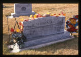 Lynn C. Stephensen and Lucinda Ann Wilson grave marker decorated for Halloween in Fountain Green,...