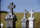 St. Sava Serbian Cemetery, cross grave markers, Jackson, California, 1972 (5 of 6)