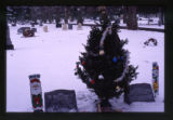 Mark Jacaway headstones and grave decorations, wide-angle view, Logan, Utah, 2000 (2 of 2)