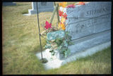 Stephensen headstone and wooden plaque decoration, Ephraim, Utah, 1999