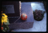 Gilbert M. Anderson and Josephine R. headstone close-up of Halloween decorations, Logan, Utah, 2001