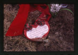 Note written on heart near a grave marker, Ogden, Utah, 2000